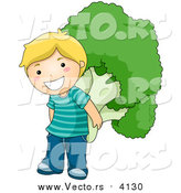 Vector of a Happy Blond Boy Carrying a Giant Broccoli Floret on His Back by BNP Design Studio