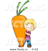 Vector of a Happy Blond Boy Carrying a Giant Carrot by BNP Design Studio