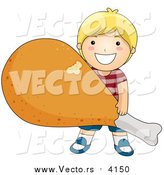 Vector of a Happy Blond Boy Carrying a Giant Fried Chicken Drumstick by BNP Design Studio