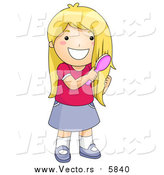 Vector of a Happy Blond Girl Brushing Her Hair by BNP Design Studio