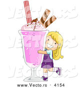 Vector of a Happy Blond Girl Hugging a Giant Strawberry Milkshake by BNP Design Studio