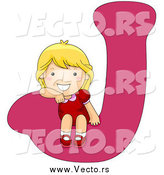 Vector of a Happy Blond White Girl Sitting on a Capital Letter J by BNP Design Studio