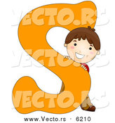 August 25th, 2017: Vector of a Happy Boy Beside Alphabet Letter S by BNP Design Studio