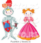 Vector of a Happy Boy Knight Standing Beside Pretty Princess by Pushkin