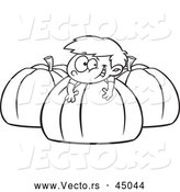 Vector of a Happy Boy Playing on Big Pumpkins - Outline by Toonaday