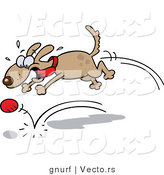 Vector of a Happy Brown Dog Playing Fetch with Ball by Gnurf