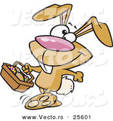 Vector of a Happy Brown Easter Bunny Walking with a Basket Full of Painted Eggs by Ron Leishman