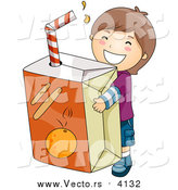 Vector of a Happy Brunette Boy Carrying a Giant Orange Juice Box by BNP Design Studio