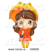 Vector of a Happy Brunette White Girl in Rain Gear, Holding a Cat Umbrella by BNP Design Studio