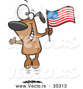Vector of a Happy Cartoon American Dog Jumping up and down with an American Flag by Toonaday