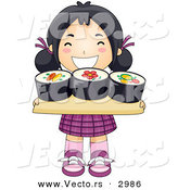 Vector of a Happy Cartoon Asian Girl Carrying Sushi Tray by BNP Design Studio