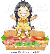 Vector of a Happy Cartoon Asian Girl Sitting on a Giant Sandwich by BNP Design Studio