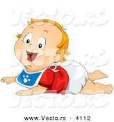Vector of a Happy Cartoon Baby Boy Wearing a Bib While in a Crawling Position on the Floor by BNP Design Studio