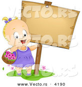 Vector of a Happy Cartoon Baby Girl Carrying a Basket with Flowers Beside a Blank Sign by BNP Design Studio