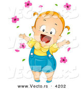 Vector of a Happy Cartoon Baby Girl Playing with Pink Flowers by BNP Design Studio
