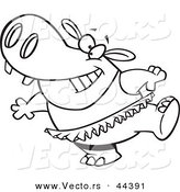 Vector of a Happy Cartoon Ballet Hippo in a Tutu - Coloring Page Outline by Toonaday