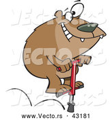 Vector of a Happy Cartoon Bear Jumping on a Pogo Stick by Toonaday