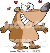 Vector of a Happy Cartoon Bear Ready to Hug with Love Hearts by Toonaday