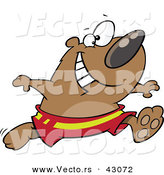 Vector of a Happy Cartoon Bear Running in Swim Shorts by Ron Leishman