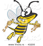 Vector of a Happy Cartoon Bee Flying Around with Honey on His Hands by Toonaday