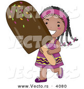 Vector of a Happy Cartoon Black Girl Carrying Big Chocolate Popsicle by BNP Design Studio