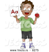"Vector of a Happy Cartoon Black School Boy Holding a Red Apple and the ""Aa"" Letter Flash Card by BNP Design Studio"