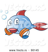 Vector of a Happy Cartoon Blue and Red Fish Learning to Swim with Arm Floaties by Holger Bogen