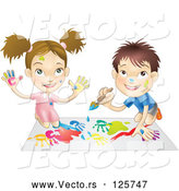 Vector of a Happy Cartoon Boy and Girl Hand Painting and Painting Together by AtStockIllustration