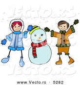 Vector of a Happy Cartoon Boy and Girl Playing Beside a Snowman by BNP Design Studio
