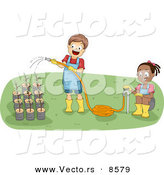 Vector of a Happy Cartoon Boy and Girl Watering Potted Garden Plants by BNP Design Studio