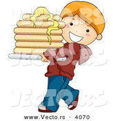 Vector of a Happy Cartoon Boy Carrying Stack of Pancakes with Butter by BNP Design Studio