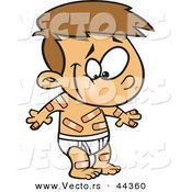 Vector of a Happy Cartoon Boy Covered in Boo Boo Bandages by Toonaday