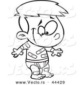 Vector of a Happy Cartoon Boy Covered in Boo Boo Bandages - Coloring Page Outline by Toonaday