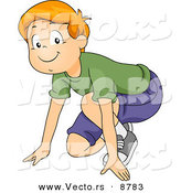 Vector of a Happy Cartoon Boy Crouched down and Prepared to Run by BNP Design Studio