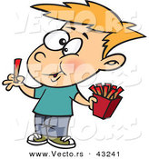 Vector of a Happy Cartoon Boy Eating French Fries with Ketchup by Toonaday