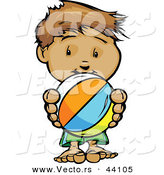 Vector of a Happy Cartoon Boy Holding a Beach Ball by Chromaco