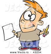 Vector of a Happy Cartoon Boy Holding a Blank Sheet of Paper and a Pencil While Grinning by Toonaday
