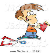 Vector of a Happy Cartoon Boy Holding a Paper Love Heart Beside Scissors by Toonaday