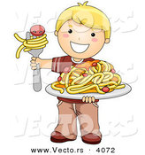 Vector of a Happy Cartoon Boy Holding a Plate of Spaghetti with Meatballs by BNP Design Studio