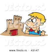 Vector of a Happy Cartoon Boy Making a Sand Castle at the Beach by Toonaday