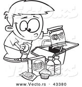 Vector of a Happy Cartoon Boy Packing Junk Food into a Picnic Basket - Coloring Page Outline by Toonaday