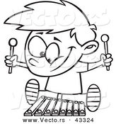 Vector of a Happy Cartoon Boy Playing a Xylophone - Coloring Page Outline by Toonaday