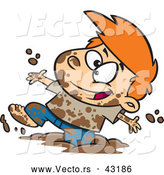 Vector of a Happy Cartoon Boy Playing in Mud by Toonaday