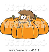 Vector of a Happy Cartoon Boy Playing on Big Pumpkins by Toonaday