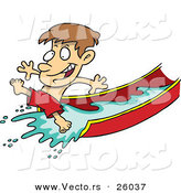 Vector of a Happy Cartoon Boy Playing on Water Slide by Toonaday