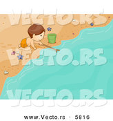 Vector of a Happy Cartoon Boy Playing with a Stick and Beach Water by BNP Design Studio