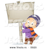 Vector of a Happy Cartoon Boy Pulling on a Sign Pole in Winter Snow Outdoors by BNP Design Studio