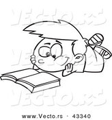 Vector of a Happy Cartoon Boy Reading a Catalog - Coloring Page Outline by Toonaday