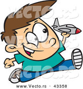 Vector of a Happy Cartoon Boy Running and Playing with a Toy Jet Airplane by Toonaday