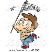 Vector of a Happy Cartoon Boy Running and Trying to Catch a Butterfly with His Insect Net by Toonaday